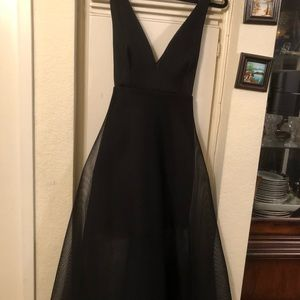 ANGL Black Cross Strap Mesh Net Dress Size M